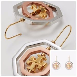 NWT TORY BURCH 3-Tone Logo Spinner Drop Earrings